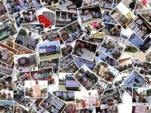 Collage of pictures from the yatra